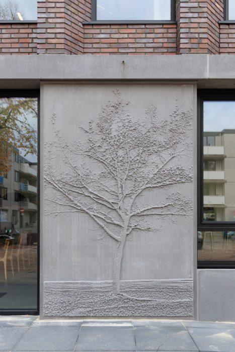 Maarten Heijkamp, Growth, 2018, Three concrete photograpic reliefs integrated in the facade of school building Melanchthon Kralingen, Rotterdam, NL